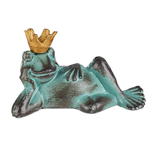 Relaxdays Gartenfigur Froschkönig, wetterfest, liegender Frosch, mit Krone, Dekofigur, Balkon, Gusseisen, Größe L, grün