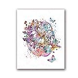 Jwqing Anatomie du Cerveau Impression Neurologie Médecine Affiche Médecins Cadeau Science Nerf Aquarelle Art Toile Peinture Clinique Mur Art Décor 60x80 cm sans Cadre