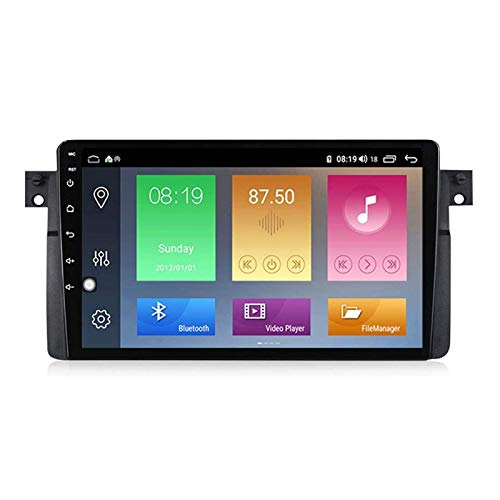 FDGBCF 9 Inch Android 10.0 Double DIN GPS Navigation Head Unit for BMW E46, Bluetooth/Mirrorlink/Rear Camera/Steering Wheel Controls/FM/RDS/DSP,8 Core-WiFi: 4+64G