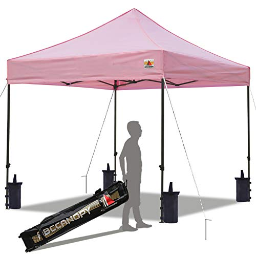 ABCCANOPY Pop up Canopy Tent Commercial Instant Shelter with Wheeled Carry Bag, Bonus 4 Canopy Sand Bags, 10x10 FT (Pink)