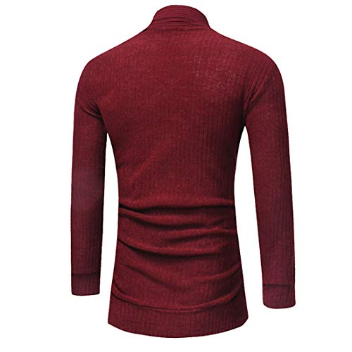 Men Cardigan Men Tops Long Style Comfortable Casual Slim Long Sleeve Men Cardigan Autumn New Fine Knitted Business Casual Boutique Long Men Cardigans ZZ-Red XXL