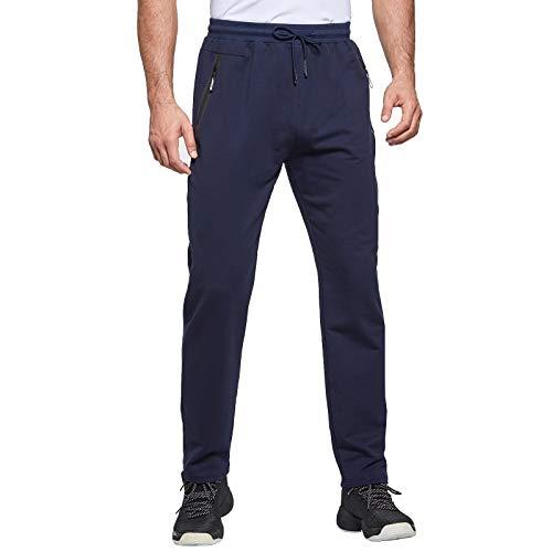 JustSun Jogginghose Herren Trainingshose Sporthose Herren Lang Baumwolle Fitness Hosen Herren Reissverschluss Taschen Blau L