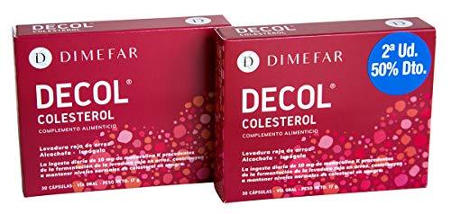 DIMEFAR - Decol - Complemento Alimenticio Natural para Colesterol - Levadura Roja de Arroz + Alcachofa + Ispágula, 30 Cápsulas, Pack Segunda Unidad 50% | Contra Colesterol | Regula Colesterol