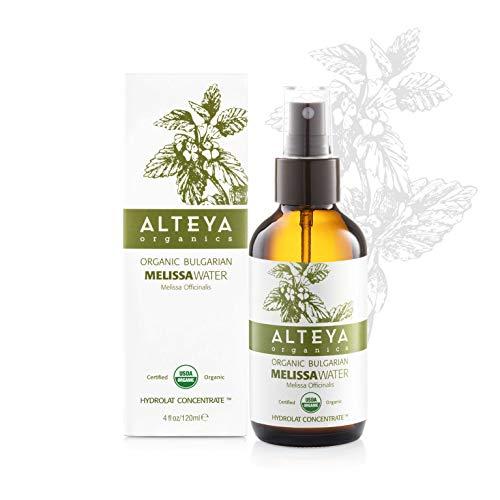 Alteya Organic Pulvérisateur d'eau de mélisse 120 ml Bioglass - Certifié organique par USDA Pure Bio Eau Naturelle Florale Distillé - Clarifiante, Harmonisante, Tonifiante et Hydratante