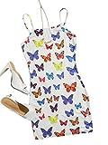Floerns Women's Casual Butterfly Print Spaghetti Strap Cami Bodycon Mini Dress Multicoloured L