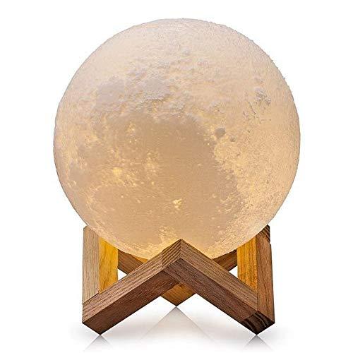 Luminária Lua Cheia Impressão 3d 15cm - Base Madeira - 3 Cores de Iluminação