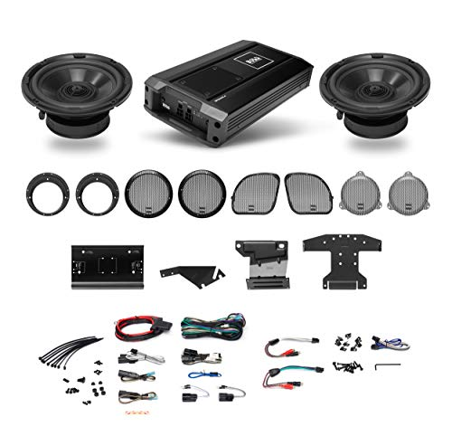 BOSS Audio Systems BHD3F Harley Davidson Front Speakers System – Fits Select 1998+ Road Glide and Street Glide Motorcycles, 4 CH Amplifier Plus Mounting Plates, Weatherproof, 6.5 Inch, 300 Watts Pair