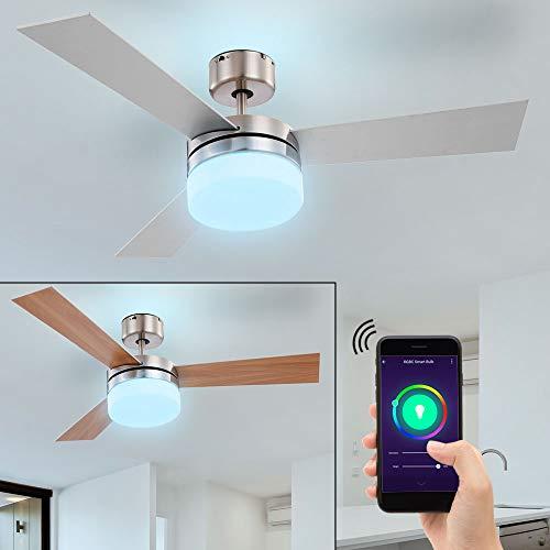 LED Decken Ventilator Lampe Leuchte Smart-RGB Leuchtmittel Beleuchtung Vor-Rücklauf einstellbar 3 Geschwindigkeitsstufen Alexa Google Home