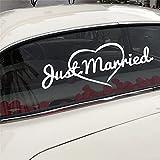 Wipersigns Calcomanías para ventana de coche de Just Married, pegatinas para bodas, casas o iglesias, bodas, despedidas de soltera, 19.68 x 7.28 pulgadas (blanco reflectante)