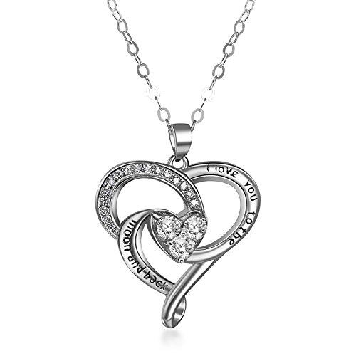 Aroncent Collar de plata de ley 925 con colgante de corazón 'I Love You To The Moon and Back'