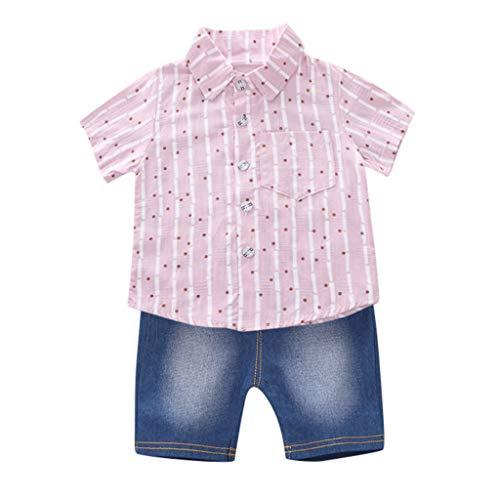 Hui.Hui Ensemble de Nouveau-né Vêtements Bébé Garçon Fille 2 Pièces Chemise à Pois Tops de Rayure T-Shirt à Manches Courtes et Shorts en Denim Vêtements Printemps pour Enfants 6M-3T