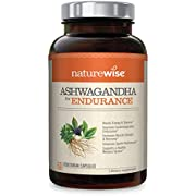 NatureWise Ashwagandha for Endurance, Adaptogen Adrenal Support Supplement with Organic KSM-66 Ashwagandha, Vitamins, Ginseng, and Green Tea Extract (Packaging May Vary) [1 Month Supply – 60 Capsules]