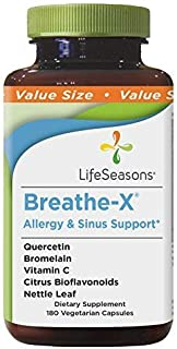 Life Seasons - Breathe-X - Fast Acting Allergy Relief Supplement - Reduce Sinus and Nasal Discomfort - Naturally Boost Immune System - with Quercetin, Bromelain, Nettle Leaf - (180 Count)