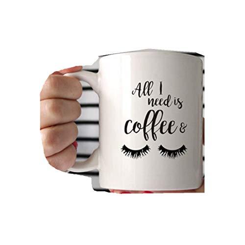 Taza con texto en inglés 'All I Need is Coffee and Mascar', para pestañas, taza de café, taza de chica jefe