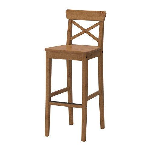 IKEA INGOLF–Barhocker mit Rückenlehne, Fleck Antik–74cm