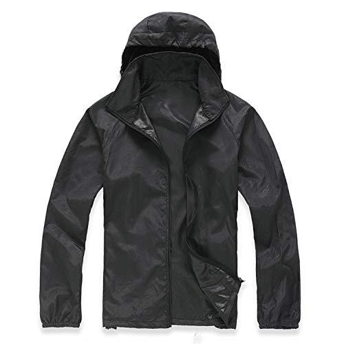 ZXHDP Chaqueta de secado rápido para hombre y mujer, abrigo ultraligero, informal, cortavientos, impermeable, resistente al viento, transpirable, abrigo fino. negro XXXL