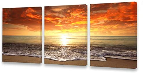 S0134 Canvas Prints Wall Art Sunset Ocean Beach Pictures Photo Paintings for Kids RoomLiving product image