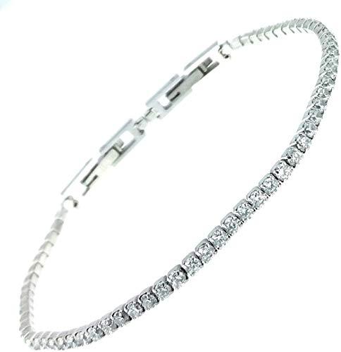 Bracciale tennis bianco spessore 3 MM cristalli SWAROVSKI in acciaio inox Lavorato a mano Made in Italy