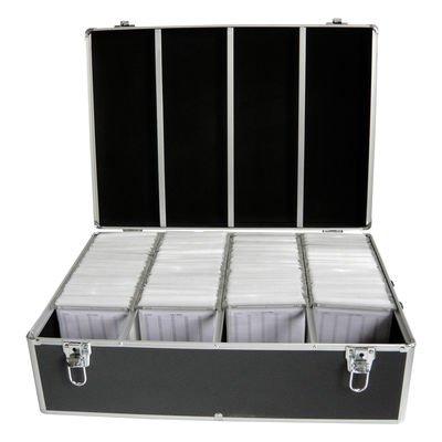 MediaRange Archivierungskoffer für 1.000 Discs, Aluminium-Optik, mit Einhängetaschen, schwarz