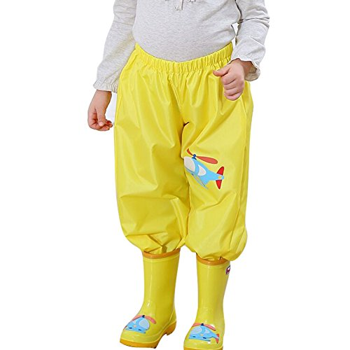 Gagacity Pantaloni da Pioggia per Bambini Yollow Airplane/S