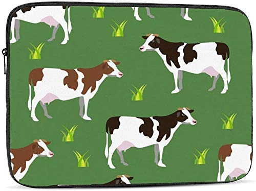 Color Splash Series Laptop Sleeve Bag Compatible with 10-17 Inch Cute Computer Bag Laptop Case-Cow Animal On Field,12inch