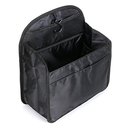 IGNPION Backpack Hanging Insert Bag Shoulder Bag Organiser 10 Pockets Inner Pouch Bag in Bag Travel Diaper Bag Liner Bag(Large, Black)