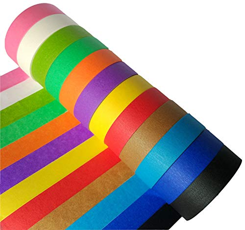 Craft Multi Colored Masking Tape 1 inch X 49', Colorful Rainbow Labeling Paper Tape, Graphic Art Tape Roll for Fun DIY Art Crafts Supplies Kit, 12 Pack