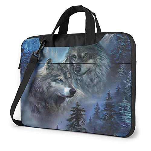 Laptop Shoulder Bag,Wolf Lookout Shockproof Laptop Sleeve Cover Business Messenger Bag Briefcase Handbag Case 15.6 inch