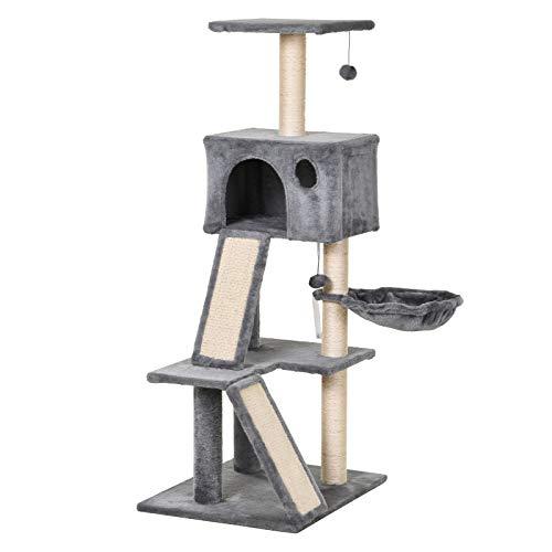 Pawhut Katzen Kratzbaum mit Sisalpfosten, Kletterbaum für Katzen, Höhle, Katzenspielzeug, Grau, 60 x 49 x 130 cm