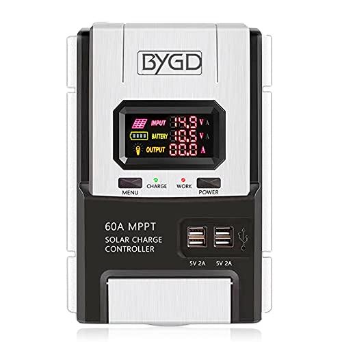 BYGD - Regulador de carga solar MPPT 20 A/40 A/60 A para instalaciones fotovoltaicas 12 V/24 V, regulador de batería panel solar con pantalla LED (60 A)