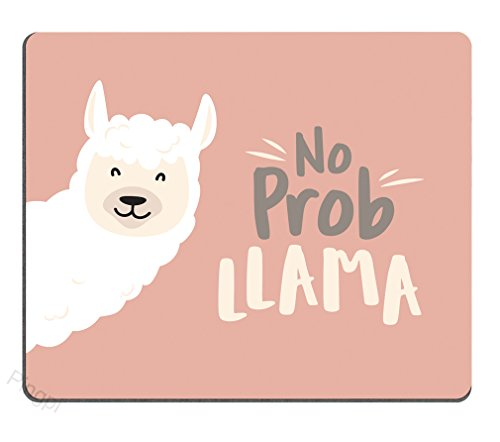 Llama Gaming Mouse Pad - Cute Llama Design with No Prob Llama Motivational Quote Personalized Design Non-Slip Rubber Mouse pad