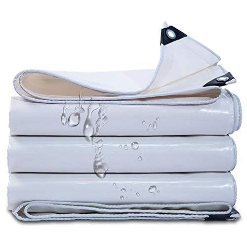YHtech Sombrillas, Cubierta Blanca Abrigo de la Tienda Que acampa Tela Impermeable, Multi Propósito Impermeable Poli Tarp Cubierta for Muebles de jardín (Tamaño: 6mX8m)