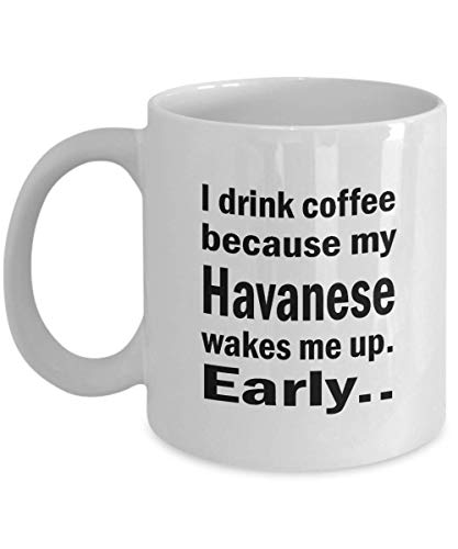 Rael Esthe Tazza da caffè Havanese Divertente Bevo caffè perché il Mio Havanese mi sveglia Presto Regalo di Mamma Havanese per gli Amanti di Havanese