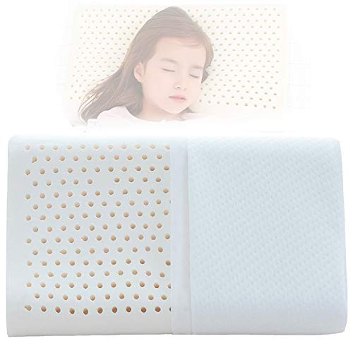 """YWSHUF Natural Latex Toddler Pillow for Sleeping,Healthy Soft Organic Washable Bamboo Pillowcase,Hypoallergenic Breathable Kids Nap Pillow for 3-10 Years Old Children16.9"""" x 9.8"""" x 2.9""""/2.3""""(White)"""