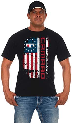 JH DESIGN GROUP Men's Chevy Camaro Distressed U.S.A. Old Glory Flag T-Shirt (X-Large, Black)