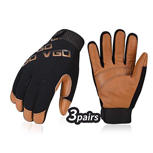 Vgo 3Pairs Waterafstotende Geit Leer Licht Duty Mechanische Handschoen, Rigger Handschoen (Anti-slijtage, Bruin, GA9603) X-Large BRON