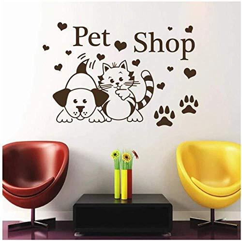 Pegatinas de pared Tienda de mascotas pegatinas de pared gatos perros huellas de patas corazones salón calcomanías de pared decoración vinilo adhesivo animales para habitaciones de niños 44x65cm