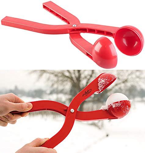 infactory Schneeballpresse: Profi-Schneeballzange für Schneebälle mit Ø 7 cm, rot (Schneeballformer)