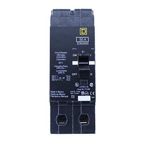 Square D EDB24050 2 Pole 50A 480Y/277V 18Ka Thermal Magnetic Circuit Breaker