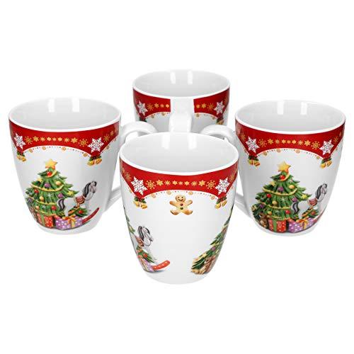 Van Well 4er Set Kaffeebecher Weihnachtszauber, 530 ml Porzellan Glühweinbecher, große Kaffeetasse, XL-Becher, Weihnachtsmotiv