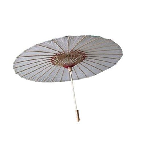 srovfidy Sonnenschirm Bambus-des Chinesischen Stil Schirm Sonnenschirm Regenschirm, der Antike China weiß