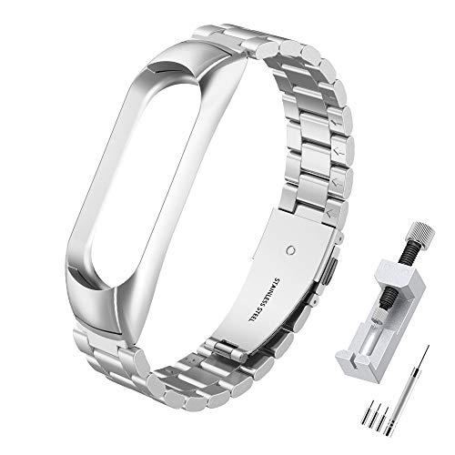 Simpeak Correa Compatible con Xiaomi Mi Band 5 (5.5- 8.1 Pulgadas),  Pulseras de Acero Inoxidable Wristband Repuesto Bandas Compatible con Xiaomi Mi Band 5 Fitness con Cerradura- Plata