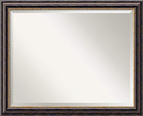 Amanti Art Framed Vanity Mirror | Bathroom Mirrors for Wall | Tuscan Rustic Mirror Frame | Solid Wood Mirror | Medium Mirror | 25.75 x 31.75 in.