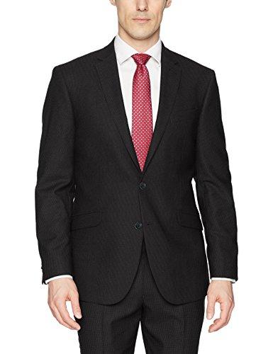 Kenneth Cole REACTION Men's Techni-Cole Stretch Slim Fit Suit Separate Blazer (Blazer, Pant, and Vest), Charcoal Tic, 44 Long