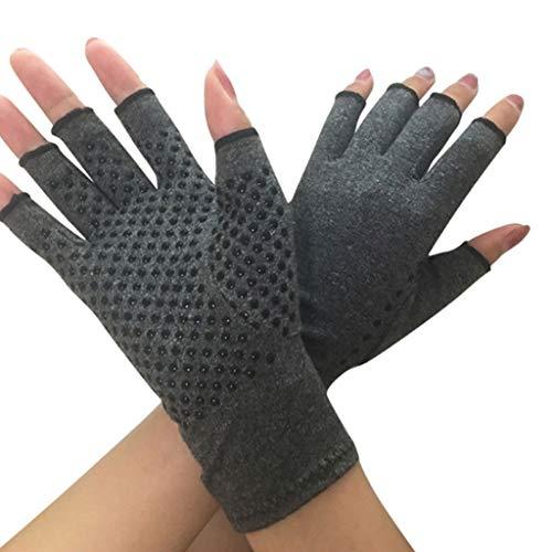 Dsxnklnd Luvas unissex de compressão para artrite e mãos texturizadas, abertas, alívio da dor nas articulações, comprimento do pulso sem dedos, Cinza, M