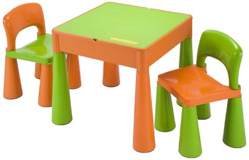 Liberty House Toys 5 in 1 Multifunktionstisch & 2 Stühle - Grün & Orange, Plastik, grün/orange, 51.0 x 51.0 x 46.5 cm