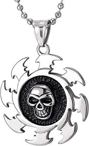 Collar de medalla de calavera con hoja de sierra de acero inoxidable para hombre con cadena de bola de esmalte negro de 30 pulgadas