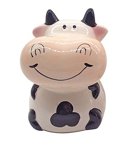 ZCHING - Hucha de cerámica con diseño de Vaca Personalizada para niños, niñas y niños, Negro