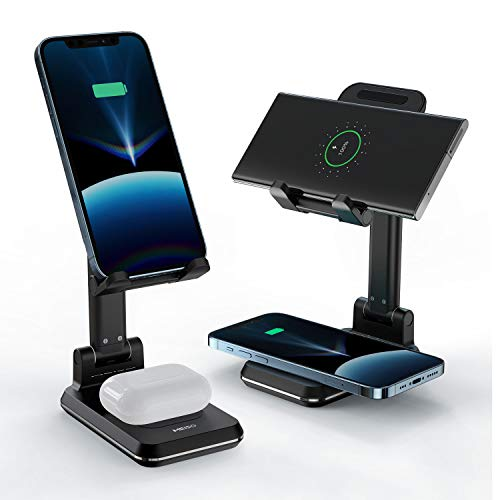 MEISO 2 in 1 Wireless Charger, Dual Wireless Charging Desk Phone Stand, 10W Qi Fast-Charging Dock for iPhone 12/11/MAX/XS/XR/X/8,AirPods/Pro,Samsung Galaxy S21/S20/S10/S9