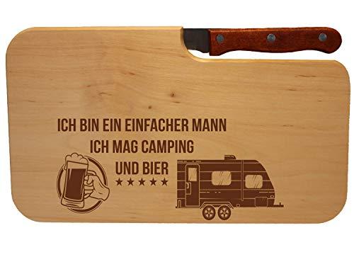 Beschdstoff/Schneidebrett mit Messer/Camping und Bier/Größe 26 x 15 x 12 cm Wohnwagen Motiv